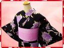 夏粋浴衣・柄半巾帯・下駄or髪飾3点セット黒地薔薇ブーケ