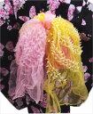 子供キッズ女の子用浴衣ゆかたに ふわっふわ2色使い絞りプチ兵児帯(帯飾り)ピンク黄色