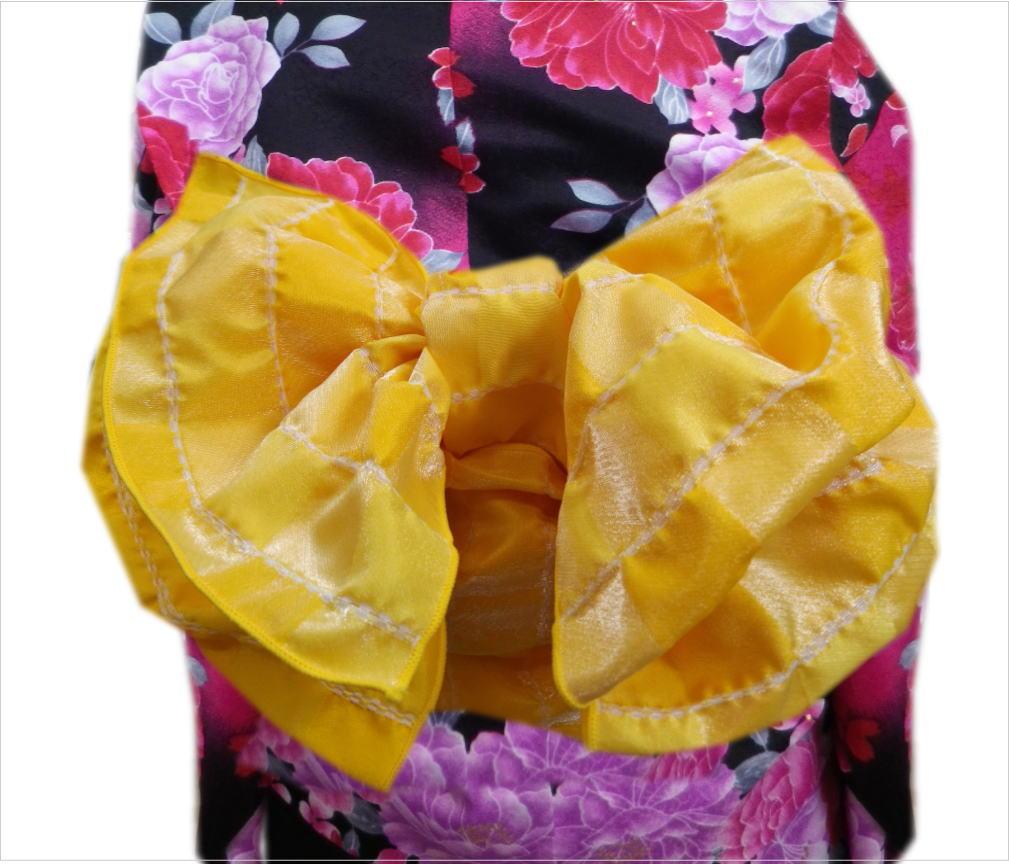 子供用ふわっふわ兵児帯へこ帯ラメ市松黄色キッズ女の子用(男の子用)浴衣&着物に日本製