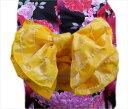 子供用ふわっふわ兵児帯へこ帯ラメ市松黄色 キッズ女の子用(男の子用) 浴衣&着物に 日本製