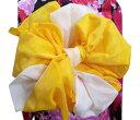 子供用ふわっふわ2色重ね兵児帯へこ帯黄色白 キッズ女の子 浴衣&着物に 日本製