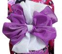 子供用ふわっふわ2色重ね兵児帯へこ帯紫色白 キッズ女の子 浴衣&着物に 日本製