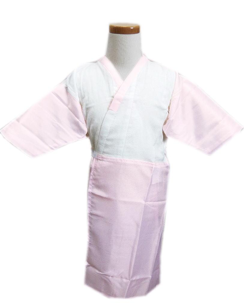 子供用女の子ワンピース肌着スリップ(肌襦袢)白色地ピンク3歳・5歳・7歳キッズ女児着物和装下着七五三