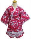 夏祭&普段着に 女性レディース用レース甚平じんべい赤色地蝶苺花M・L