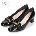 STYLE JELLY BEANS ジェリービーンズ 靴 4520 パンプス ヒール チェーンローファー 黒 エナメル スクエアトゥ チャンキーヒール レディース セール