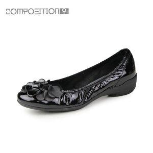 コンポジションナインCOMPOSITION9靴2364コンフォートシューズレディースパンプスバレエシューズコンポジション9ブラックエナメル