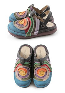 エスタシオン靴estacionTG034(BU)本革厚底コンフォートミュールサンダルぺたんこレディース