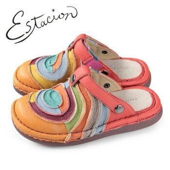 エスタシオン 靴 estacion TG034 (OR) 本革 厚底 コンフォート ミュール サンダル ぺたんこ レディース [ レディース/SS~L ] ふかふかクッションで疲れ知らず!カラフルな色彩で豊かな感性を彩る個性派シューズ。