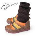 エスタシオン ブーツ 靴 estacion TGE268 (BR/MT) ニットブーツ レディース ショートブーツ ニット 厚底 ローヒール