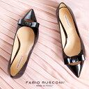 ファビオルスコーニ FABIO RUSCONI パンプス 靴 71033 リボン ポインテッドトゥ プレーントゥ フラット ブラック 黒 エナメル セール