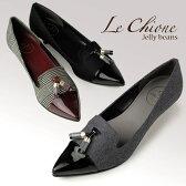 Le Chione ルキオネ 3357 パンプス タッセル ポインテッドトゥ ブラック グレー チェック
