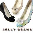 JELLY BEANS ジェリービーンズ 靴 9351 パンプス リボン レース ウエッジヒール デザインヒール ラウンドトゥ ベージュ 花柄 ブラック