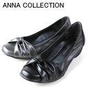 ANNA COLLECTION 527 レディース カジュアルパンプス リボン パンプス コンフォート ブラック スチールグレー