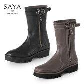 SAYA ブーツ サヤ ラボキゴシ 靴 50047 本革 ハーフブーツ ミドル丈 キャタピラーソール レディース セール