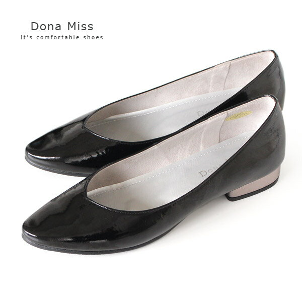 エナメル パンプス 黒 Dona Miss ドナミス 1321 本革 ローヒール ブラック レディース 靴 日本製 セール