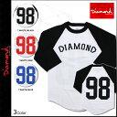 Diamond Supply Co ダイヤモンドサプライ Tシャツ 七分袖 ラグラン ロンT 3カラー DIAMOND MINED DUGOUT98 RAGLAN メンズ