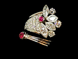 【NEW】 ルビー&ダイヤモンドリング - RING - 2Pルビー&4Pマーキスダイヤ・3Pダイヤ&パヴェダイヤ PT/ルビー/ダイヤ(2.31ct) 指輪