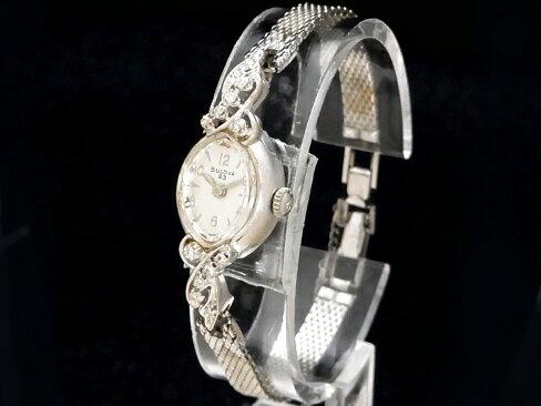 【USED】 ブローバ - BULOVA - 10Pダイヤ アンティーク 14KWG/SS 手巻き レディース 腕時計【】