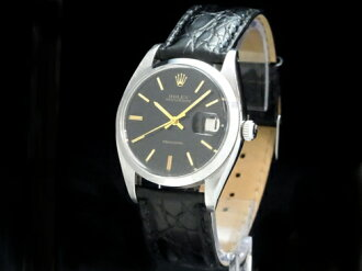 Rolex - ROLEX - Oyster date Ref.6694 been 5/2013 OH! Black face SS case / leather men's hand caught Sakura shimmachi