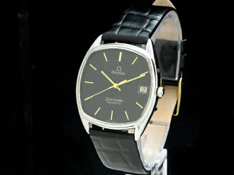 Omega - OMEGA - Seamaster square black face rare and vintage! SS case / leather belt men's quartz Sakura shimmachi