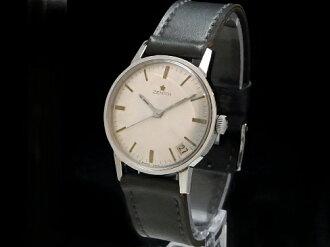 Zenith - ZENITH - star emblem round date silver dial SS case / leather rolling by hand men Sakurashimmachi