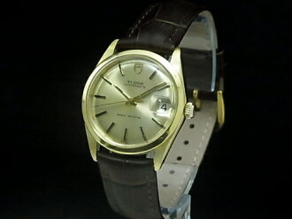 -TUDOR - Tudor Oyster date YGP case / leather hand-rolled gold dial men's