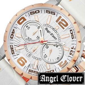 エンジェルクローバー腕時計AngelClover時計AngelClover腕時計エンジェルクローバー時計タイムクラフトTIMECRAFTメンズ/シルバーNTC48PG-WH[革ベルト/クロノグラフ/正規品/防水/ホワイト/ピンクゴールド/ローズゴールド/レッド][送料無料][ポイント10倍]