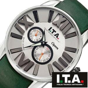[ポイント10倍][送料無料]アイティーエー腕時計ITA時計ITA腕時計アイティーエー時計オペラOperaメンズ/グレーITA21.00.03[革ベルト/機械式/自動巻/メカニカル/正規品/イタリア/ブランド/ファッション/シルバー/グリーン]
