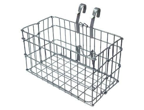 Wood Front Bike Basket Silver Wire