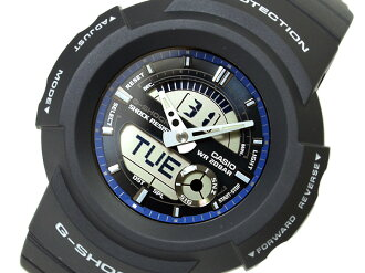 CASIOカシオ Gショック アナログ×デジタルWrist watch Black&Blue Dial BlackUrethaneBelt 海外Model AW-582C-2A
