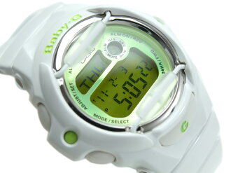 Casio baby G imports international model ladies digital watch green liquid enamel white urethane belt BG-169R-7C