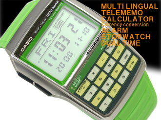 Casio databank overseas model digital watch Mondo style 08 model vivid green urethane belt DBC-32C-3B