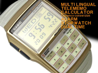 08 Casio data bank reimportation model digital watch Mond-style model gold X beige urethane belt DBC-32C-8B fs3gm