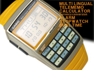 Casio databank overseas model digital watch Mondo style 08 model champagne x yellow-orange polyurethane belt DBC-32C-9B