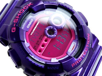 + Casio overseas model G shock mens digital watch pink liquid metallic purple polyurethane belt GD-100SC-6