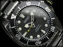 漆黒のIPブラック200mダイバーズ!!更に電池交換不要の自家発電機能つき【逆輸入SEIKO KINETIC】セイコーキネティックダイバーズメンズ腕時計オールブラックブラックダイアルIPブラックステンレスベルトSKA427P1