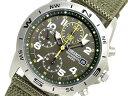 日本製ムーブメント セイコー高速クロノウォッチ100m防水 デイトカレンダー搭載《お取り寄せ商品》【SEIKO】クロノグラフ腕時計カーキダイアル メッシュベルト海外モデル SND377P