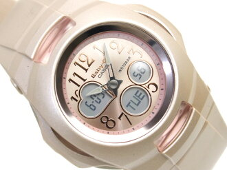 Casio baby G ladies digital watch pink dial champagne beige pink polyurethane belt BG-90-8B
