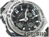 �ڥݥ����2��!!������������̵��!!�ۥ����� G����å� G�������� CASIO G-SHOCK G-STEEL �����顼 ���ʥǥ� ��� �ӻ��� �֥�å� ����С� GST-S110-1ADR GST-S110-1A
