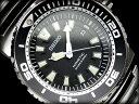 電池交換不要の自家発電機能つき【逆輸入SEIKO KINETIC】セイコーキネティックダイバーズメンズ腕時計ブラックダイアル ステンレスベルトSKA383P1