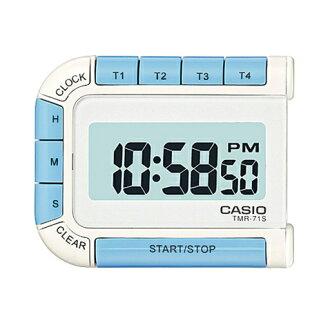 在同一時間由四個可測量時鐘時鐘凱西歐凱西歐時鐘計時器可以顯示 w / 磁鐵藍色 TMR-71 件-7JH