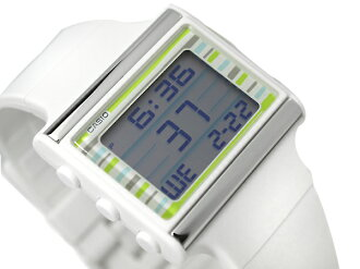 + Casio ポップトーン vibrator alarm with ladies watch グリーンカラフルボーダー white urethane overseas model LDF-12-7B