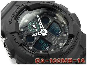 CASIO G-SHOCK カシオ Gショック Military black series ミリタリーブラック・シリーズ アナデジ腕時計 ブラック グリーン GA-100MB-1ADR GA-100MB-1A【あす楽】