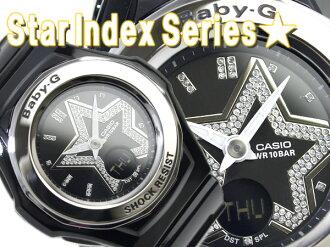 CASIO Baby-G Star Index Seriesカシオ ベビーG スターインデックスシリーズ逆輸入海外Model Lady'sアナデジWrist watch Black エナメルUrethaneBelt BGA-103-1B