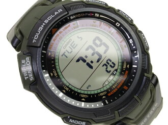 And protrek tough solar triple sensor with digital watch dark green polyurethane belts overseas model PRG-110-3
