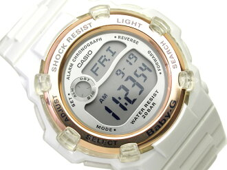 + Casio baby G overseas model digital watch Reef dial-silver enamel white urethane belt BG-3000-7 a.