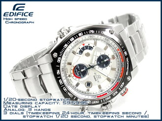 CASIO EDIFICEカシオ 海外Model エディフィス men'sChroographWrist watch WhiteSilverDial Stainless steelBelt EFE-503D-7A