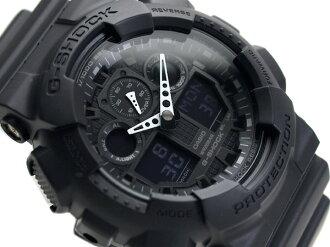 CASIO G-SHOCKカシオ 逆輸入海外ModelGショック アナデジWrist watch マットBlack つやなしUrethaneBelt GA-100-1A1