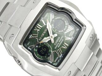 CASIO G-SHOCKカシオ Gショック アドバンスドデザイン 海外Model C3アナデジWrist watch GreenフローリッシュDial Stainless steelMetal belt G-011AD-3B