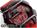 G-SHOCK Gショック ジーショック CASIO カシオ 逆輸入海外モデル プロテクター デジタル 腕時計 レッド ブラック GD-400-4DR GD-400-4